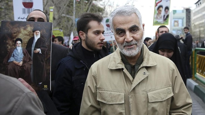 FILE - In this Thursday, Feb. 11, 2016, file photo, Qassem Soleimani, commander of Irans Quds Force, attends an annual rally commemorating the anniversary of the 1979 Islamic revolution, in Tehran, Iran. Iraqi TV and three Iraqi officials said Friday, Jan. 3, 2020, that Gen. Qassem Soleimani, the head of Iran's elite Quds Force, has been killed in an airstrike at Baghdad's international airport. (AP Photo/Ebrahim Noroozi, File)