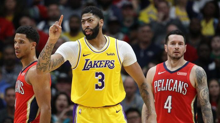 Anthony Davis antarkan LA Lakers menang atas New Orleans Pelicans (Foto: Chris Graythen/Getty Images)