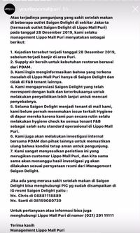 Kasus Keracunan Makanan di Jakarta, Pihak Resto dan Mal Beri Klarifikasi
