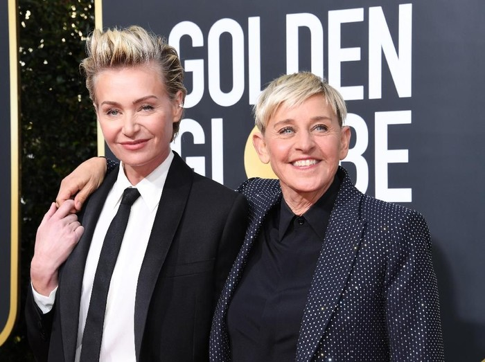 BEVERLY HILLS, CALIFORNIA - JANUARY 05: (L-R) Portia de Rossi and Ellen DeGeneres attend the 77th Annual Golden Globe Awards at The Beverly Hilton Hotel on January 05, 2020 in Beverly Hills, California. (Photo by Jon Kopaloff/Getty Images)