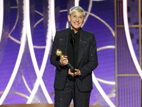 BEVERLY HILLS, CALIFORNIA - JANUARY 04: In this handout photo provided by NBCUniversal Media, LLC, Ellen DeGeneres accepts the CAROL BURNETT AWARD onstage during the 76th Annual Golden Globe Awards at The Beverly Hilton Hotel on January 5, 2020 in Beverly Hills, California. (Photo by Paul Drinkwater/NBCUniversal Media, LLC via Getty Images)