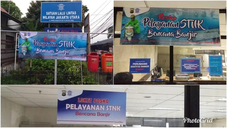 Untuk mengurus penggantian dokumen kendaraan yang rusak atau hilang karena banjir, Polda Metro Jaya membuka posko pelayanaan STNK bencana banjir. Posko itu dibuka di Samsat jajaran Ditlantas Polda Metro Jaya.