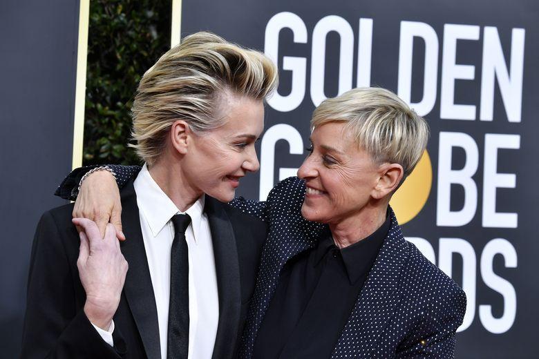 Kemeriahan Golden Globe 2020 diwarnai oleh pasangan selebriti yang hadir bersama. Misalnya saja Ellen DeGeneres yang datang bersama istrinya. Foto: Frazer Harrison/Getty Images