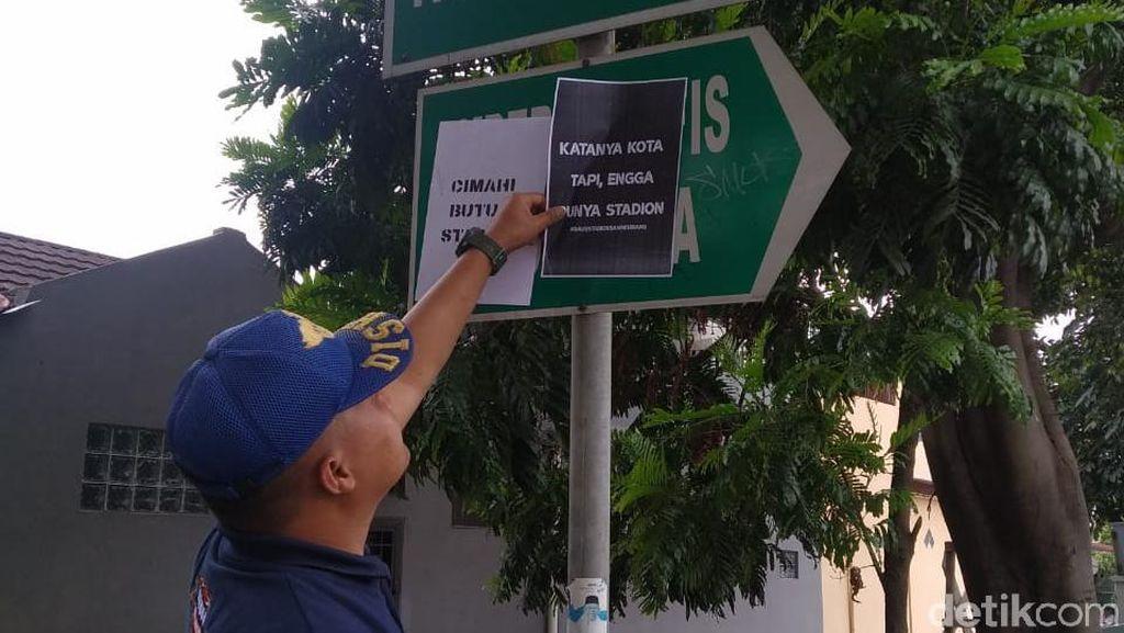 Muncul Vandalisme Tuntut Revitalisasi Stadion Sangkuriang Cimahi