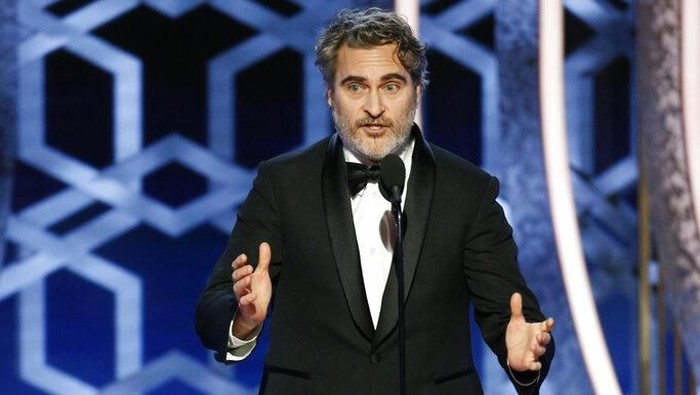 This image released by NBC shows Joaquin Phoenix accepting the award for best actor in a motion picture drama for his role in Joker at the 77th Annual Golden Globe Awards at the Beverly Hilton Hotel in Beverly Hills, Calif., on Sunday, Jan. 5, 2020. (Paul Drinkwater/NBC via AP)