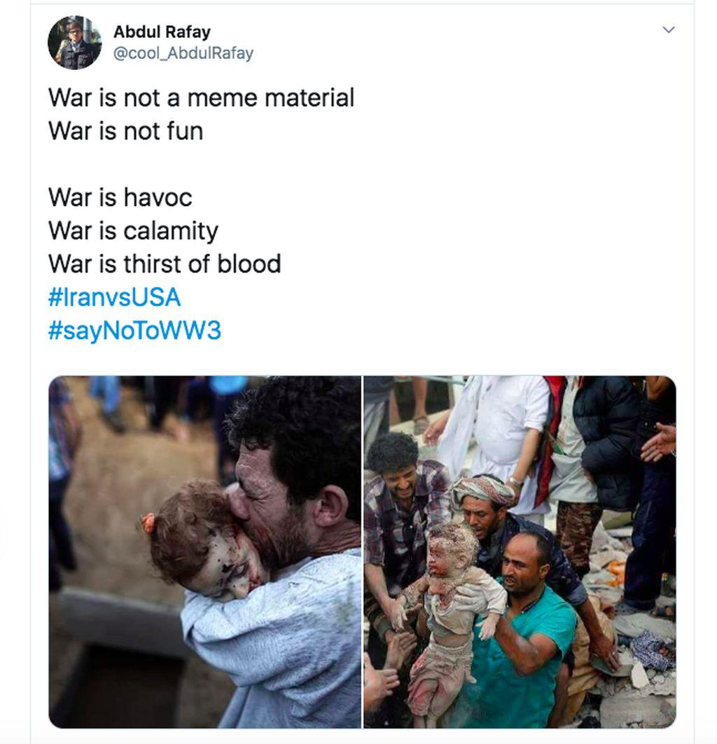 Perang bukan bahan meme, tidak lucu, tapi kekacauan dan haus darah, begitu tulis netizen ini. Foto: Twitter