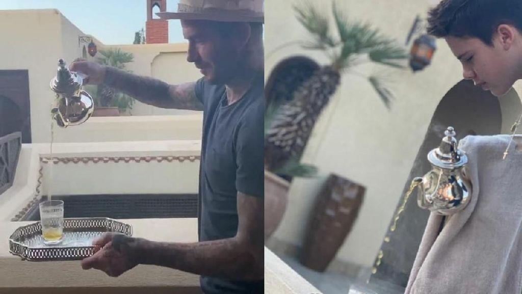 Lihat Aksi David Beckham Saat Sajikan Teh Maroko Gaya Tradisional