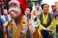 Topeng Tradisional Jepang di Festival Konpari