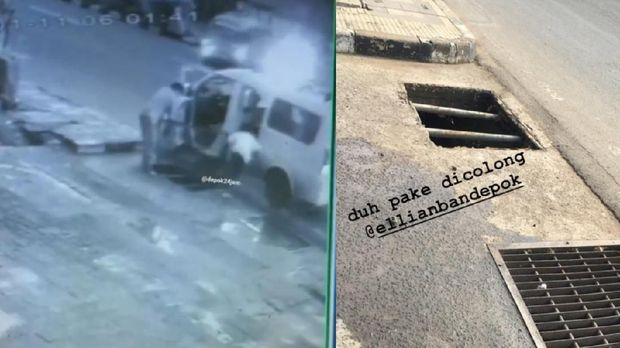 Aksi pencurian gorong-gorong di Depok terekam CCTV