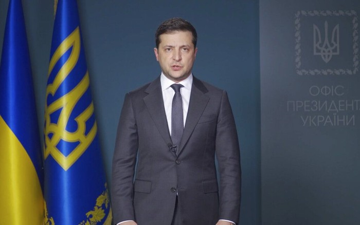 Presiden Ukraina Volodymyr Zelenskiy (Ukrainian Presidential Press Office via AP)