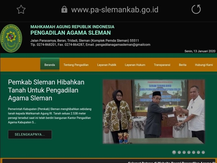 Website Pengadilan Agama Sleman sudah bisa diakses setelah 17 jam dihack. Foto: Tangkapan layar website Pengadilan Agama Sleman.