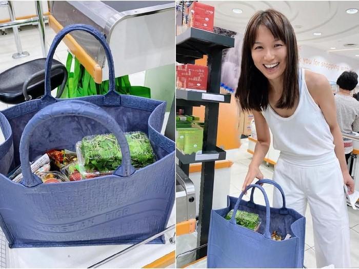 Aktris Joanne Peh yang membawa tas Dior untuk menampung belanjaannya. Foto dok. Instagram @joannepeh.