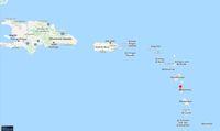 Dominika yang ditandai warna merah dan Republik Dominika sebelah kiri tetangganya Haiti (Google Maps)