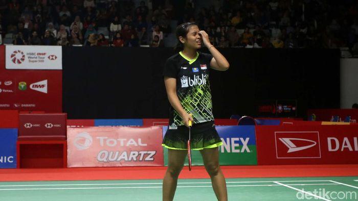 Gregoria Mariska Tunjung tersingkir di babak pertama Daihatsu Indonesia Masters 2020 (Foto: Agung Pambudhy)