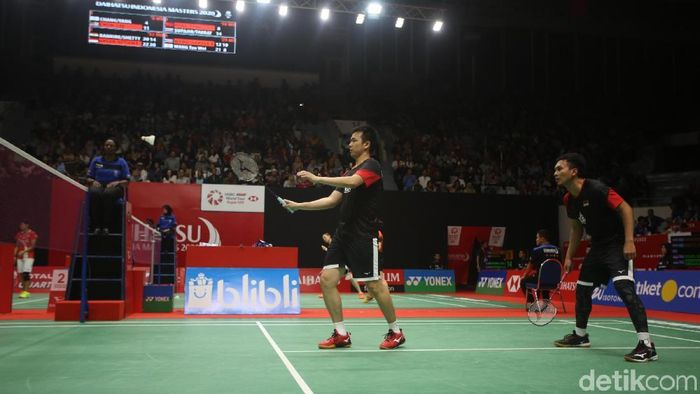 Mohammad Ahsan/Hendra Setiawan lolos ke babak kedua Daihatsu Indonesia Masters 2020 (Foto: Agung Pambudhy)
