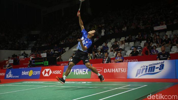 Anthony Ginting maju ke perempatfinal Daihatsu Indonesia Masters 2020. (Foto: Agung Pambudhy)