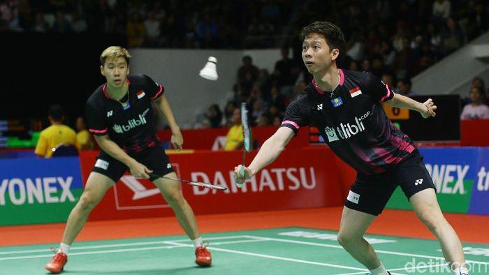 Kevin Sanjaya Sukamuljo/Marcus Fernaldi Gideon lolos ke perempatfinal Daihatsu Indonesia Masters 2020 (Foto: Grandyos Zafna)