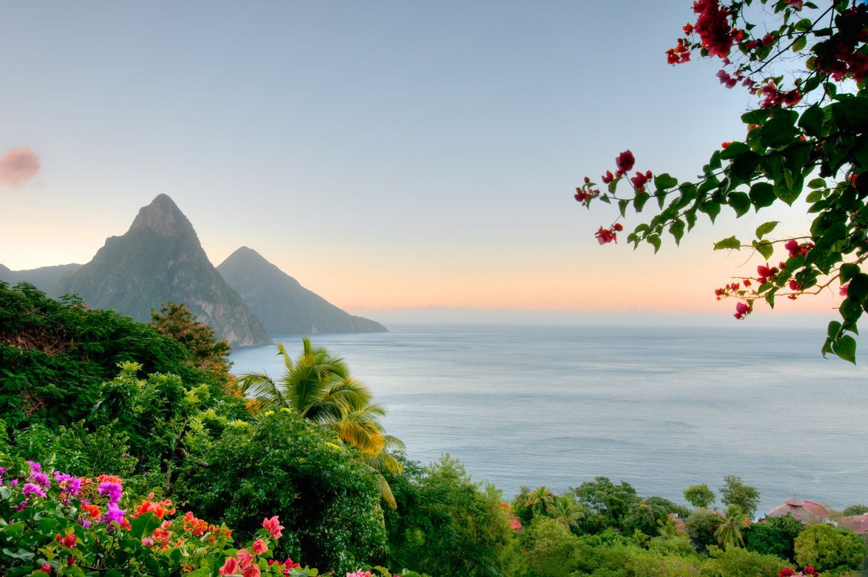 St. Lucia's famous Twin Pitons in the early morning light.