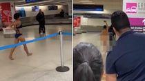 Wanita Berjalan Telanjang Hebohkan Bandara