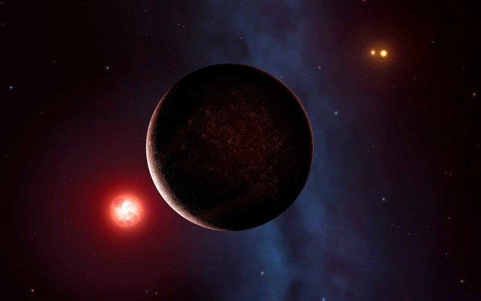 Proxima is the nearest star to the Sun. It is a dim red dwarf, smaller than our Sun and many thousands of times fainter. Here we see it seen with an orbiting rocky planet, recently discovered. To the right you can also make out Alpha Centauri, which is a binary star with two Sun-like components. The Alpha Centauri pair orbit each other quite closely, while Proxima orbits this pair much further out, forming a triple star system
