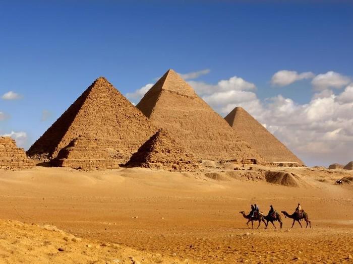 morning light on pyramids