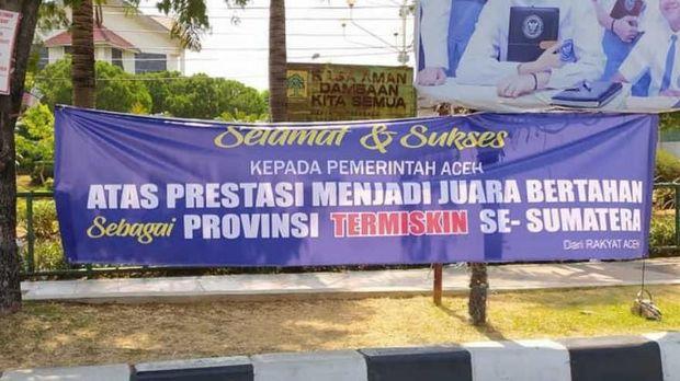 Spanduk 'Selamat Datang di Provinsi Termiskin se-Sumatera' Bikin Heboh di Aceh