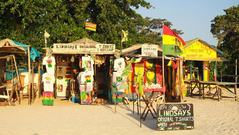 Negril, Jamaica - May 9. 2010: Gift and handicraft shops on Bourbon beach