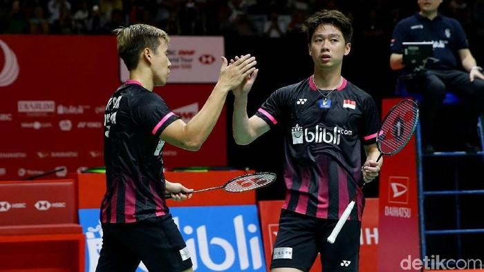 All Indonesia Final akhirnya terwujud di partai final sektor ganda putra. Itu setelah Kevin/Marcus mengalahkan wakil Malaysia di babak semifinal.