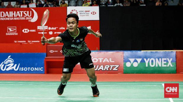 Anthony Ginting saat tampil di Indonesia Masters 2020. (