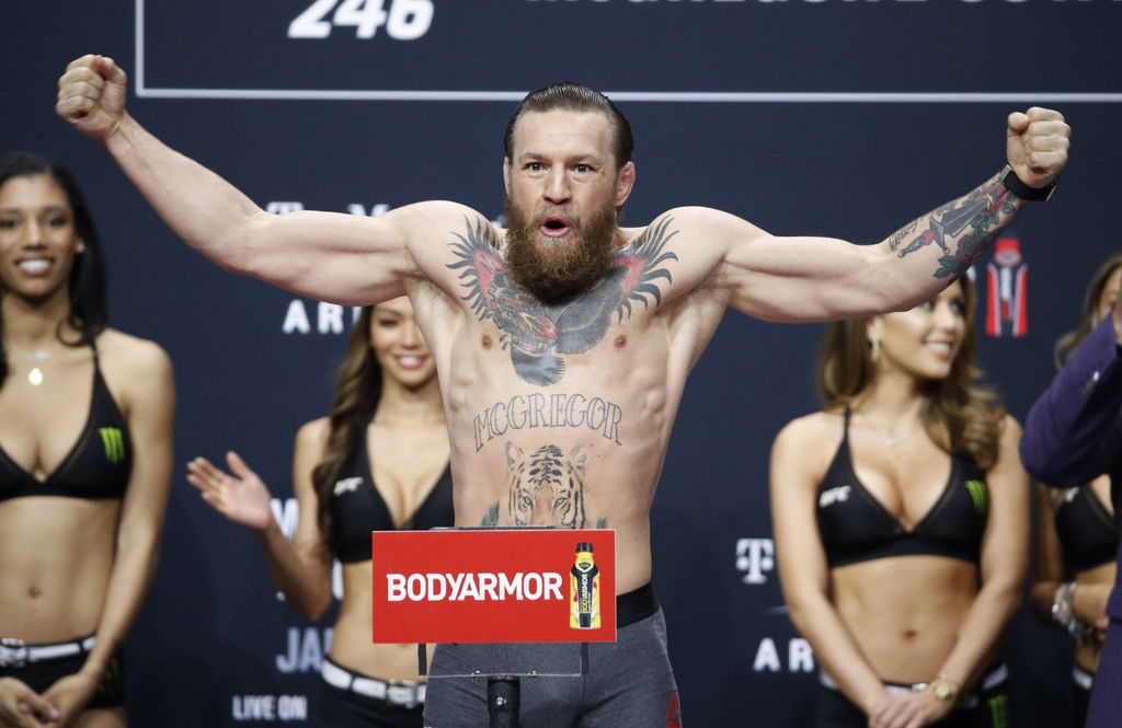Conor McGregor poses during a ceremonial weigh-in for the UFC 246 mixed martial arts bout, Friday, Jan. 17, 2020, in Las Vegas. McGregor is scheduled to fight Donald