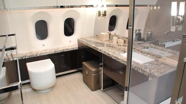 Pesawat jet kepresidenan Meksiko memang mewah. Di dalamnya ada tempat tidur hingga toilet hotel bintang lima. Aslinya, pesawat jet ini bisa menampung hingga 300 orang penumpang. (Twitter/@Hacienda_Mexico)