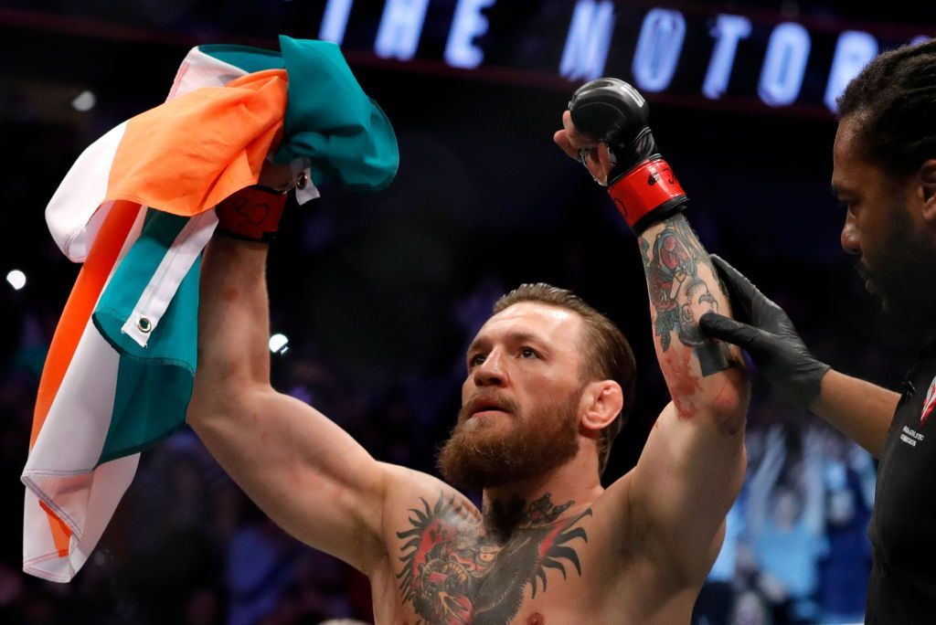 LAS VEGAS, NEVADA - JANUARY 18:  Conor McGregor celebrates after defeating Donald Cerrone in a welterweight bout during UFC246 at T-Mobile Arena on January 18, 2020 in Las Vegas, Nevada. McGregor won by a TKO in the first round. (Photo by Steve Marcus/Getty Images)