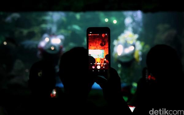 Pengunjung pun antusias merekam atraksi barongsai tersebut melalui kamera ponsel (Pradita/detikcom)