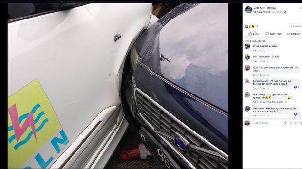 Volvo S80 yang terlibat kecelakaan di rest area tol Cipularang