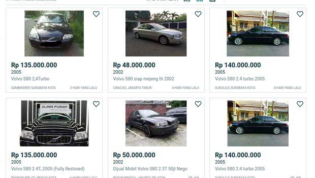 Harga bekas Volvo S80 series di situs jual beli online
