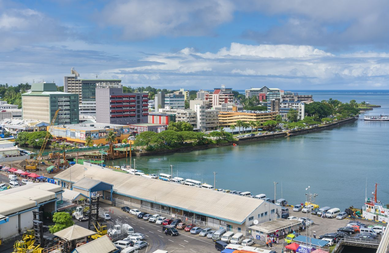 Suva, Fiji - Mar 24, 2017: View of the city centre of Suva, the capital city of Fiji