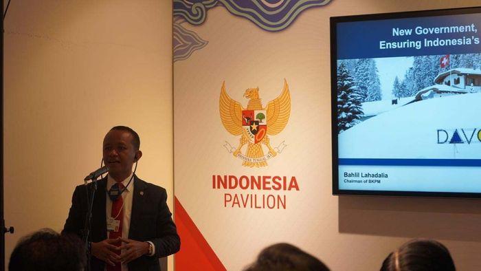 Kepala Badan Koordinasi Penanaman Modal (BKPM) Bahlil Lahadalia mengoptimalkan perhelatan World Economic Forum (WEF) dengan menerima sejumlah pimpinan dan pemilik korporasi global di Pavilion Indonesia di Davos, Swiss, sejak 20-22 Januari 2020.