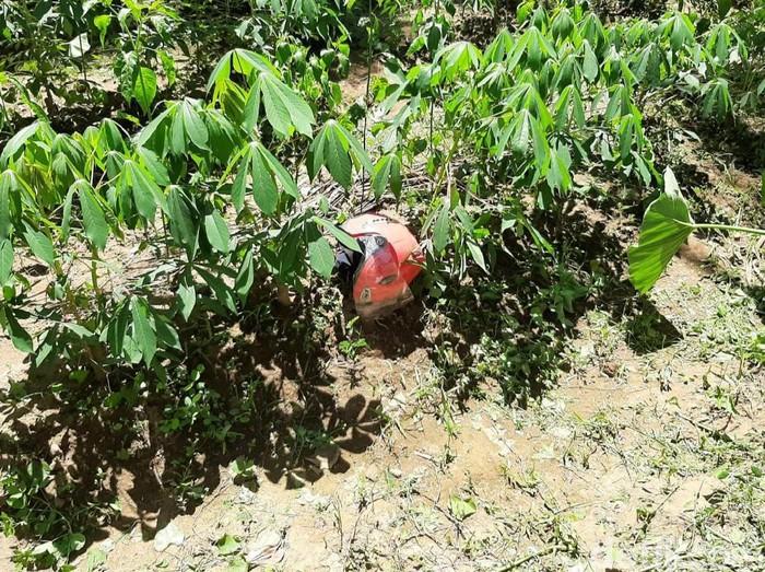 Helm pink yang ditemukan di dekat mayat terbakar di Banyuwangi/Foto: Ardian Fanani