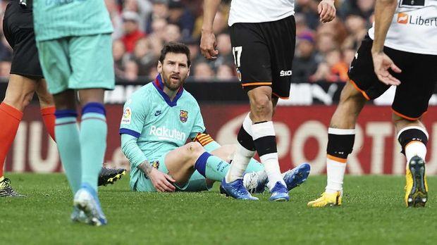 Lionel Messi saat laga Barcelona lawan Valencia. (