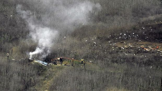 Lokasi kecelakaan helikopter yang menewaskan Kobe Bryant.