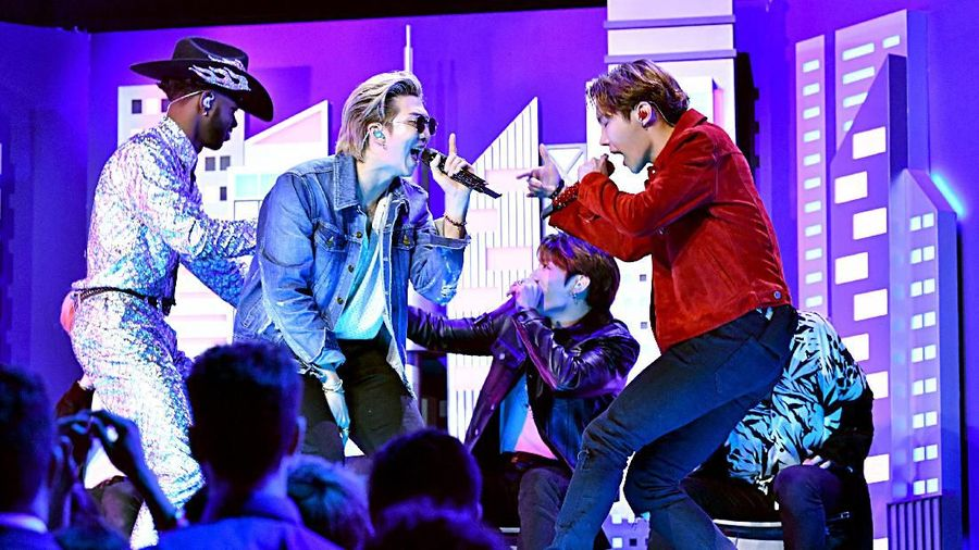 LOS ANGELES, CALIFORNIA - JANUARY 26: (L-R) Lil Nas X and BTS perform onstage during the 62nd Annual GRAMMY Awards at Staples Center on January 26, 2020 in Los Angeles, California. (Photo by Kevork Djansezian/Getty Images)