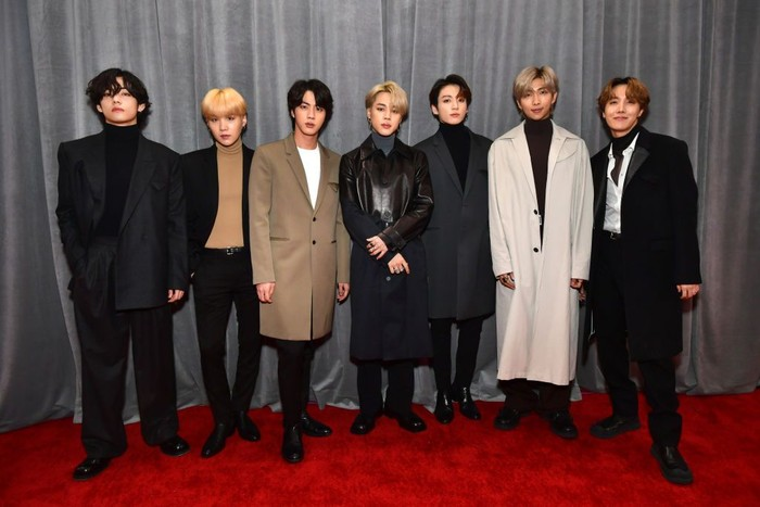LOS ANGELES, CALIFORNIA - JANUARY 26: BTS attends the 62nd Annual GRAMMY Awards at STAPLES Center on Janu, ary 26, 2020 in Los Angeles, California. (Photo by Emma McIntyre/Getty Images for The Recording Academy)
