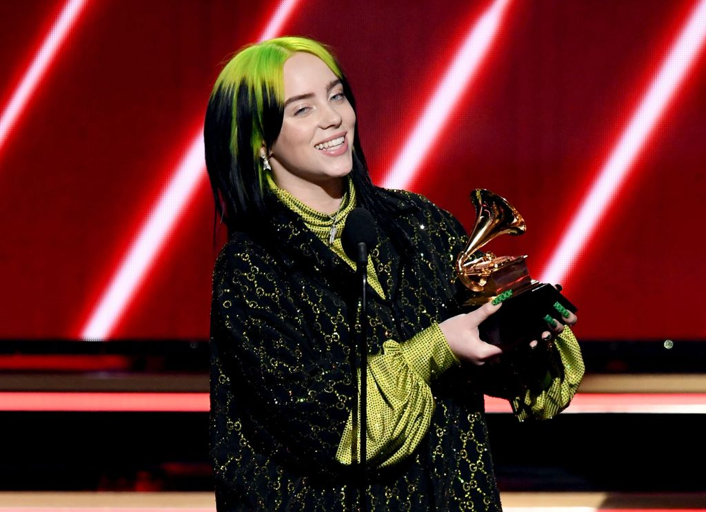 LOS ANGELES, CALIFORNIA - JANUARY 26: Billie Eilish accepts the Best New Artist award onstage during the 62nd Annual GRAMMY Awards at STAPLES Center on January 26, 2020 in Los Angeles, California. (Photo by Kevin Winter/Getty Images for The Recording Academy )