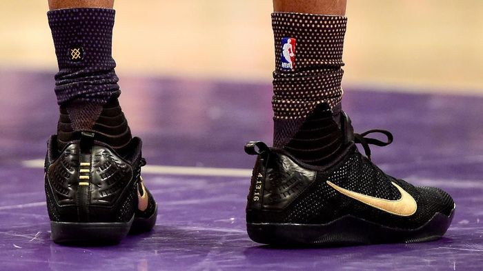 LOS ANGELES, CA - APRIL 13:  A detail view of the NIKE shoes worn by Kobe Bryant #24 of the Los Angeles Lakers in the first half against the Utah Jazz at Staples Center on April 13, 2016 in Los Angeles, California. NOTE TO USER: User expressly acknowledges and agrees that, by downloading and or using this photograph, User is consenting to the terms and conditions of the Getty Images License Agreement.  (Photo by Harry How/Getty Images)