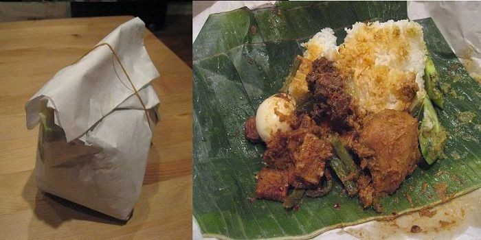 Nasi Padang with beef rendang, brain cow curry and omelet