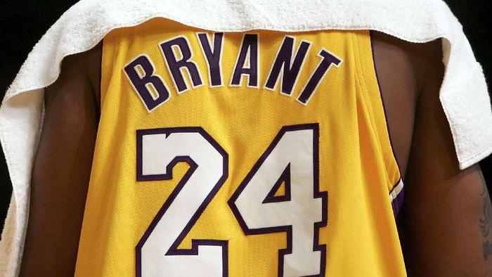 LOS ANGELES, CA - NOVEMBER 03: The back of the jersey worn by Kobe Bryant #24 of the Los Angeles Lakers during the first half against the Seattle SuperSonics on November 3, 2006 at Staples Center in Los Angeles, California. Bryant changed his number in the off-season from 8 to 24. NOTE TO USER: User expressly acknowledges and agrees that, by downloading and/or using this Photograph, user is consenting to the terms and conditions of the Getty Images License Agreement.  (Photo by Lisa Blumenfeld/Getty Images)