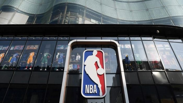 The National Basketball Association (NBA) store is seen in Beijing on October 9, 2019. - Chinese state media slammed the NBA for an