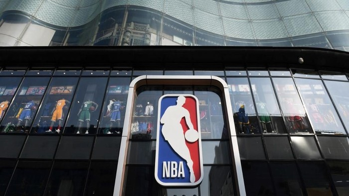 The National Basketball Association (NBA) store is seen in Beijing on October 9, 2019. - Chinese state media slammed the NBA for an about-face on October 9 after the body said it would not apologise for a tweet by the Houston Rockets General Manager supporting pro-democracy protests in Hong Kong. (Photo by GREG BAKER / AFP)