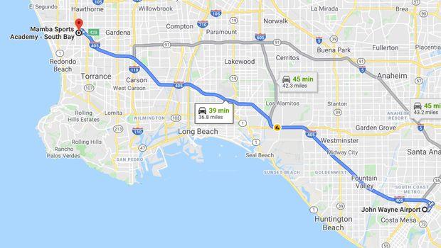 Rute perjalanan Kobe Bryant jika ditempuh lewat jalur darat.