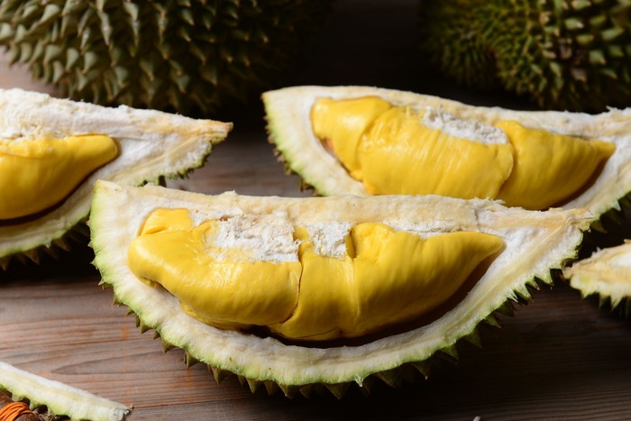 Thai durian portion isolated on white background